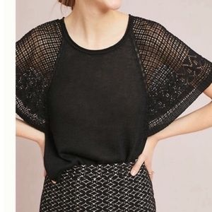 Anthro Meadow Rue Black Crochet Short Sleeve Top
